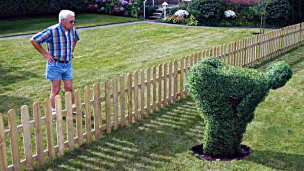 пожилой мужчина смотрит на фигуру из травы